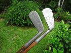 2 Early Antique Hickory Wood Shaft Golf Club Irons ATCO and Meadowlark