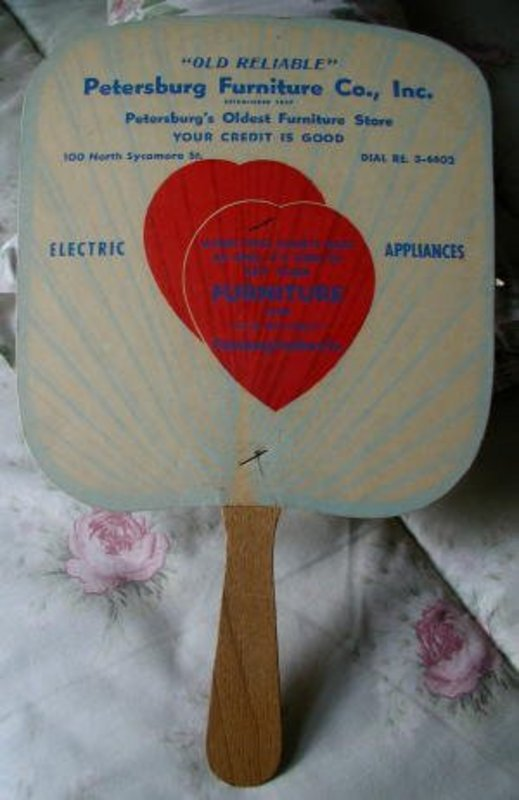 1950s Petersburg Virginia Furniture Company Store Advertising Fan