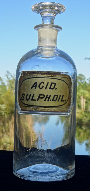 Great Civil War era Apothecary Bottle Dilute Sulfuric Acid 1862 Patent