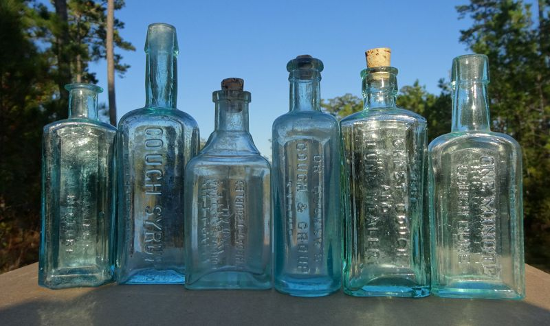 6 Patent Medicine Bottles Lung Cure Remedy Throat Asthma Cough