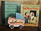 1950 Ohio Art Tin Toy BabyCarriage 1936 Wooden Toy Making 1961New Pony