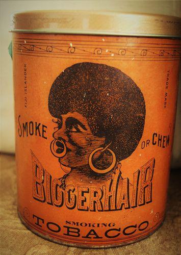 Black Americana C1950s BIGGER HAIR Tobacco Tin Formerly Nigger Hair