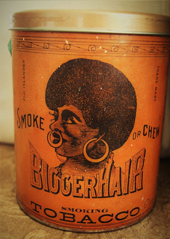 Black Americana C1950s BIGGER HAIR Tobacco Tin Formerly Nigger Hair