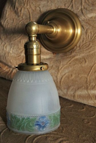 C1910 Bradley and Hubbard Hand Painted Frosted Glass Brass Wall Lamp