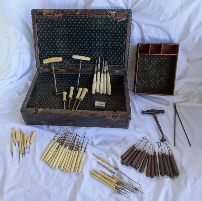 Great 19thC Country Dentist Dental Lot 3 Tooth Keys Plus Instruments