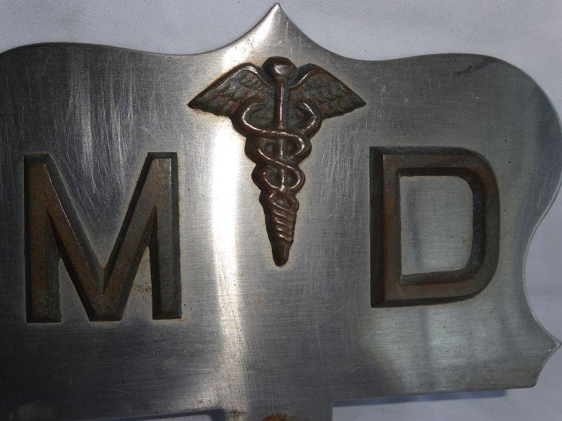 Fabulous Vintage 1950s MD Medical Doctor License Plate Topper