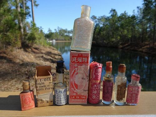 7 Scarce Colorful Chinese China Patent Medicine Bottles Hong Kong