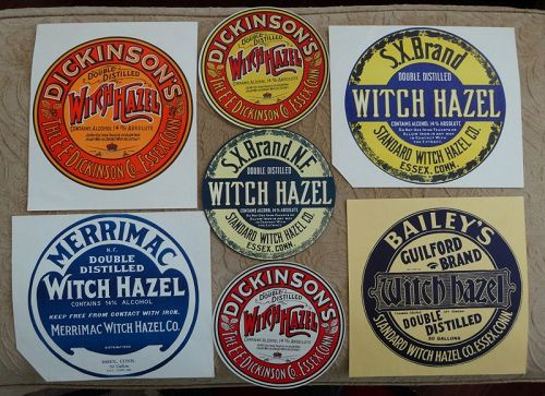 7 Vintage WITCH HAZEL Barrel Labels Highly Colorful Graphics