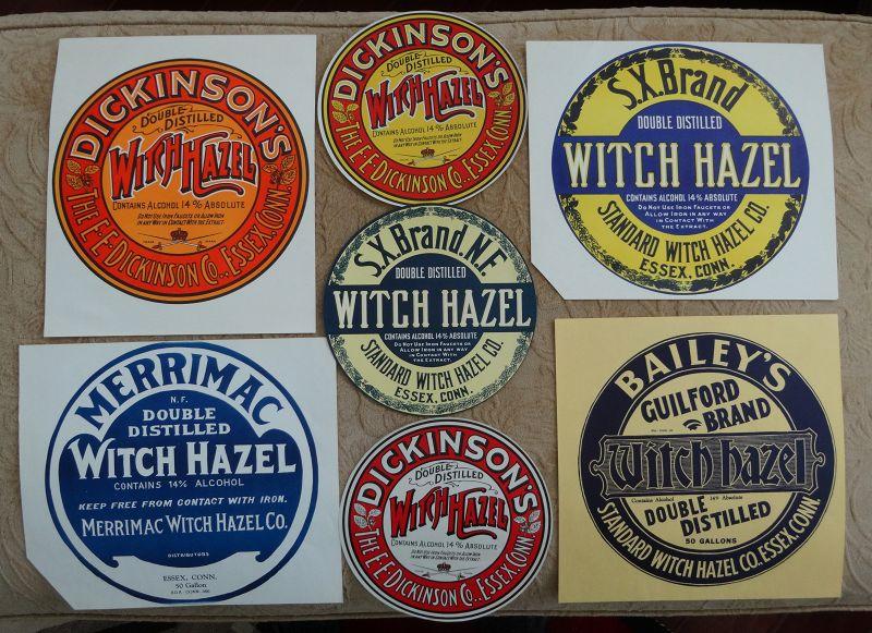 7 Vintage WITCH HAZEL Barrel Labels Highly Colorful Graphics