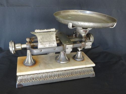 19thC Micrometer Balance Scale w/ Marble & Fancy Base Dodge Scale Co.