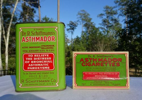 Two Great Dr Schiffmanns Asthma Lung Cure Cigarettes and Tin
