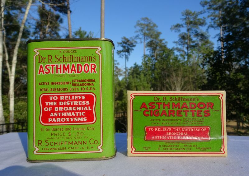 Two 1920-1930s Dr Schiffmanns Asthma Lung Cure Cigarettes and Tin