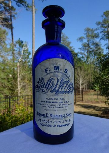 Stunning Cobalt Blue Apothecary Bottle BAY WATER / Wanamakers