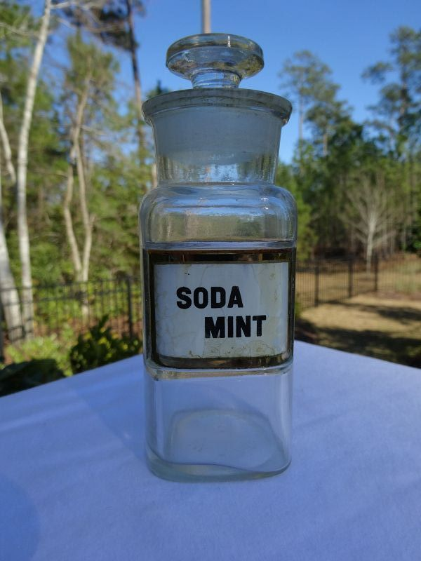 19thC SODA MINT Apothecary Bottle Hand Painted Glass Label