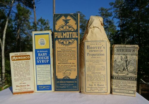 Five 1920-40s Patent Medicines for Asthma Cough Lung Ailments