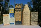 5 Patent Medicines Cough Lung Asthma Drugstore Bottles