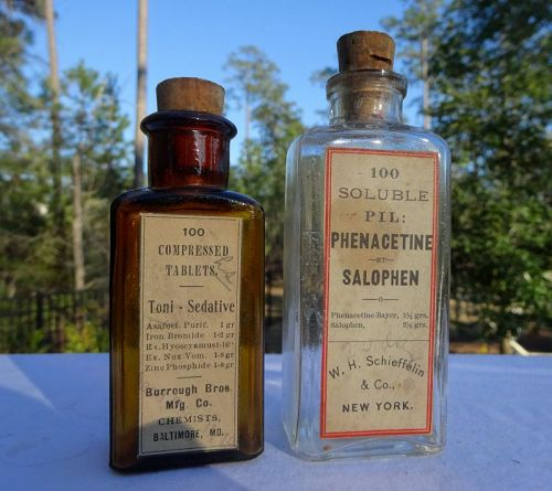 2 Early Pharmacy Medicine Drugstore Bottles BURROUGH + SCHIEFFELIN