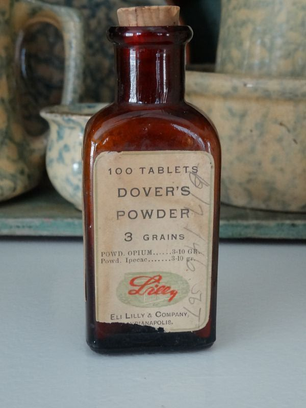 C1900 Eli Lilly OPIUM DOVERS POWDER Narcotic Drugstore Bottle