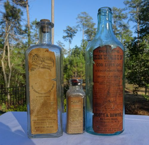Three C1890 to 1910 Lung Cough Remedy CURE Medicine Bottles