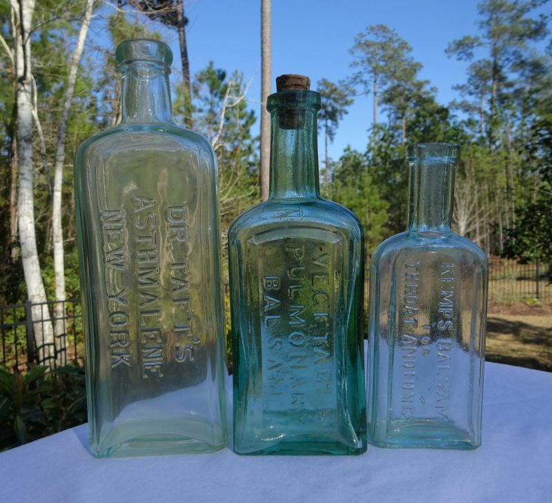 3 C1900 Lung Cough Throat Balsam Asthma Cure Medicine Bottles