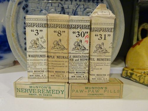 Six Vintage Munyons Humphreys Homeopathic Medicines Unused