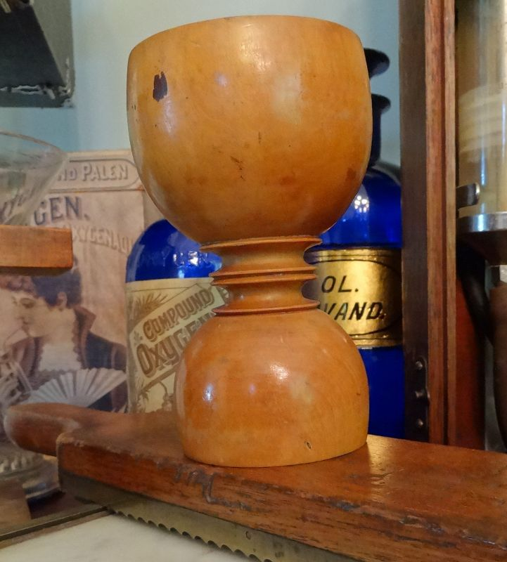 Scarce 19thC Apothecary Seidlitz Powder Wood Measure Cup