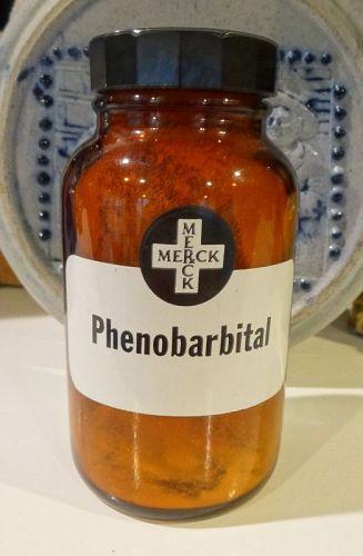 Apothecary Pharmacy Merck PHENOBARBITAL Drugstore Stock Bottle