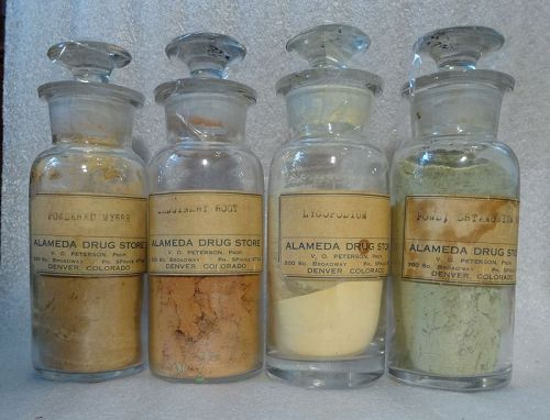Rare 1900s Herbs Homeopathic Bottles ALEMEDA DRUG DENVER Colorado