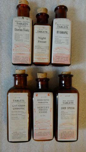 Six C1900 Maltbie Chemical Co. Medicine Drug Bottles Newark New Jersey