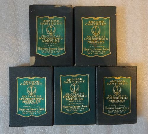 5 Boxes C1940s Anchorn Cantrust Rustless Hypodermic Needles