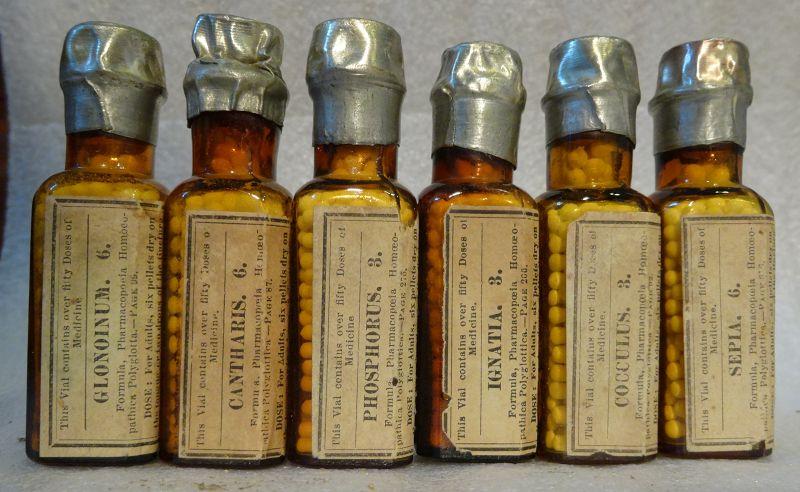 Group of 6 Boericke Tafel 19thC Homeopathic Medicine Bottles