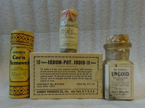 4 C1900-1930 Patent Cure and Treatment Medicines Gonorrhea Warts