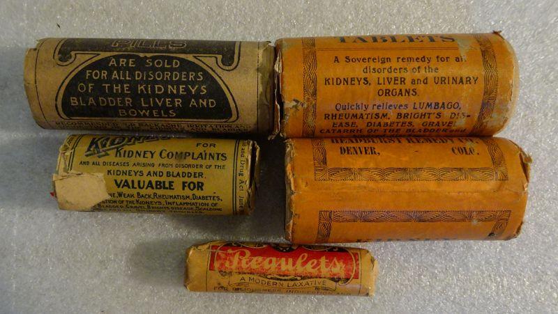 5 C1900-1920 Colorado Patent Medicine Pill Vials Liver Kidney Laxative