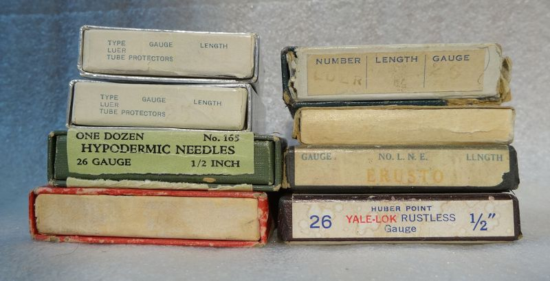 8 Boxes 1930-1940s Vintage Medicine Hypodermic Needles Pharmacy