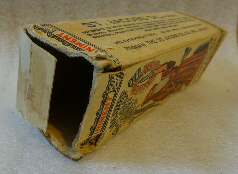 1913 St Jacobs Oil Patent Medicine Box and Bottle w/ Fabulous Graphics