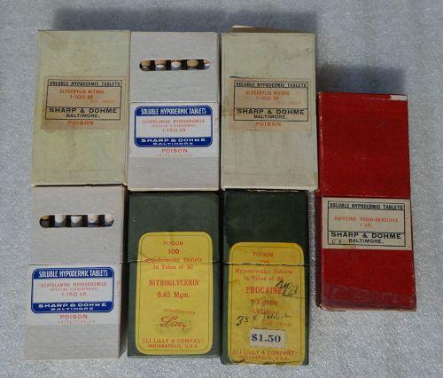 7 C1900 Eli Lilly Sharpe Dohme Hypodermic Medicine Tablet Boxes Vials