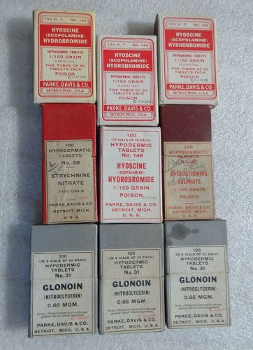 Nine C1900-1920 Parke Davis Company Hypodermic Tablet Boxes with Vials