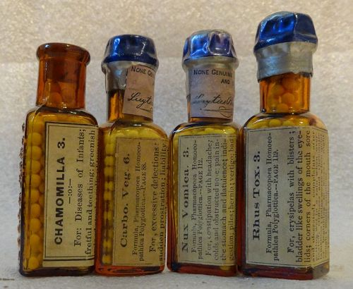 Four Scarce 19thC Homeopathic Medicines Humphries + Luyties St Louis