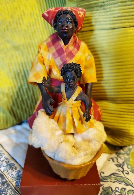 1920 RARE New Orleans Vargas Wax Black Doll Female Cotton Seller+Child