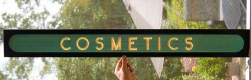 Striking C1950s Art Deco Style COSMETICS Advertising Sign Michigan