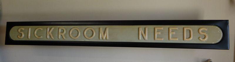 C1950s SICKROOM NEEDS Art Deco Style Drug Store Advertising Sign