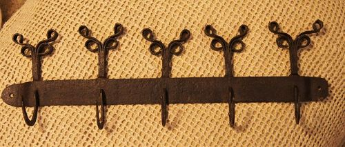 C1850s Double Rams Ear Handforged Iron Utensil or Clothing Rack