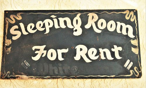 "C1930s SEGREGATION Sign ""Sleeping Room For Rent "" ""WHITE ONLY"""