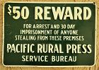 1930 Pacific Rural Press REWARD for ARREST Sign California Agriculture