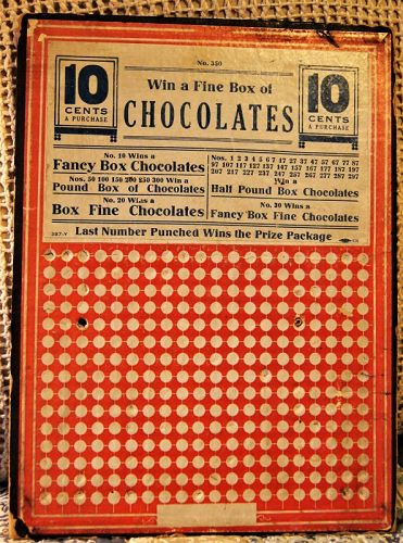 C1920s CHOCOLATE LOVERS General Store TAKE A CHANCE Gambling Board