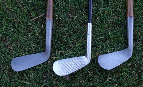 3 Wright Ditson Golf Clubs Hickory Smooth Face Clubs ST ANDREWS RARE