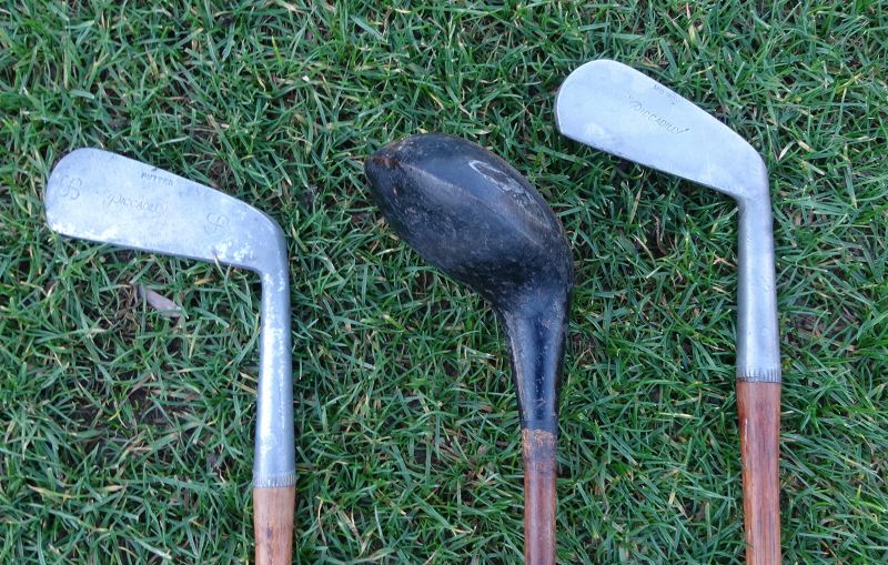 3 Vintage Piccadilly Hickory Golf Clubs Brassie Mid Iron Putter 1920