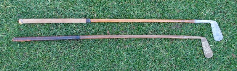 2  Vintage 1920 1930s Golf Club Putters Flanged Brass and UK