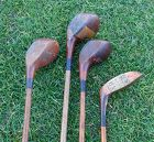 4 Antique Golf Clubs Hickory shaft Wood Heads England One Early C1900