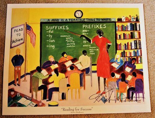 Signed 2003 School Classroom Print READING FOR SUCCESS Black Americana